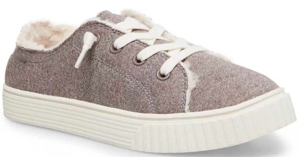 brown purple sneakers