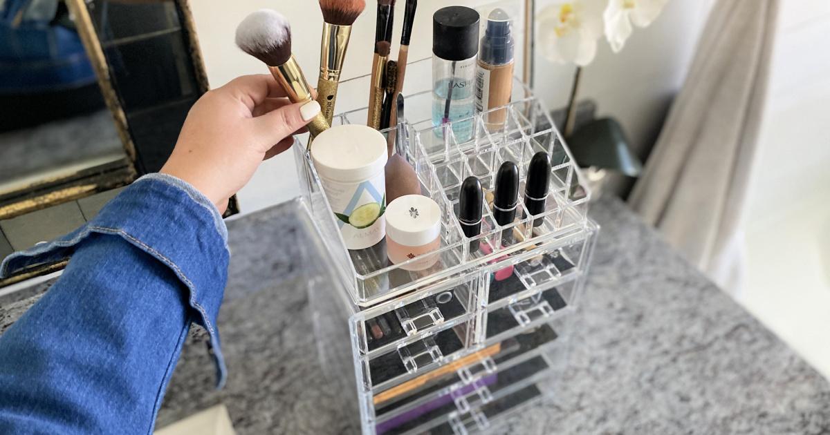putting makeup brush in organizer from amazon