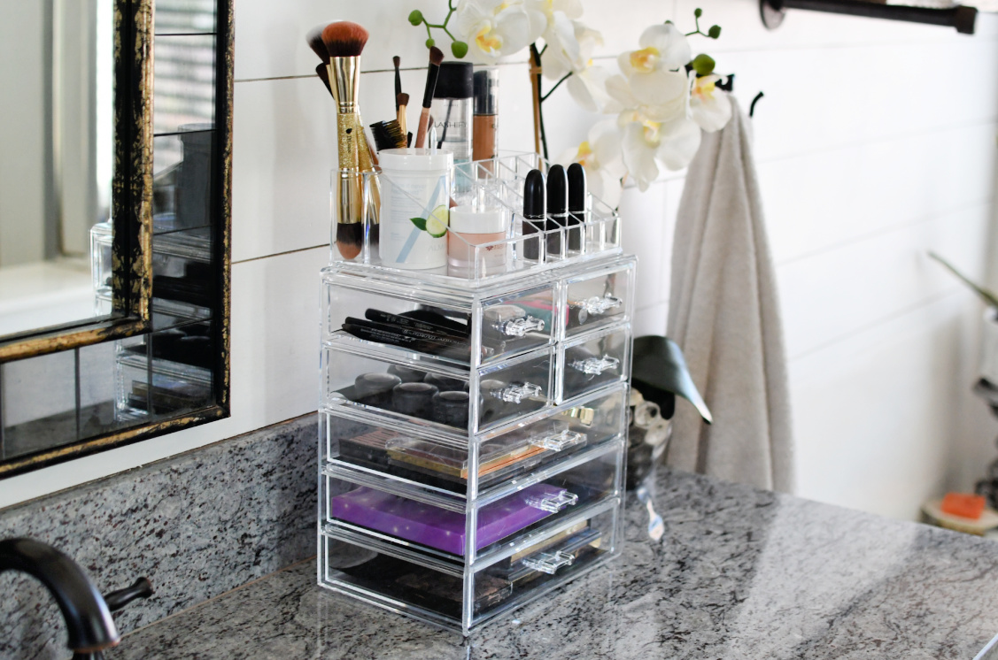 makeup organizer on the counter