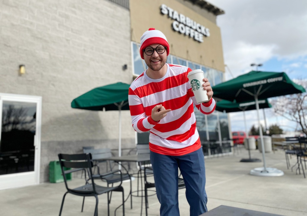 man at Starbucks in red and white striped shirt