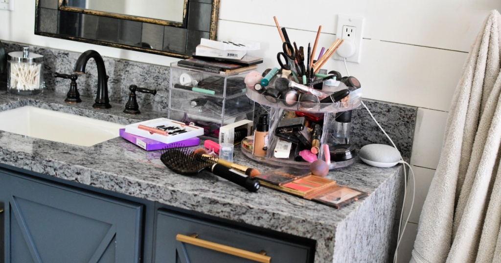 messy makeup station