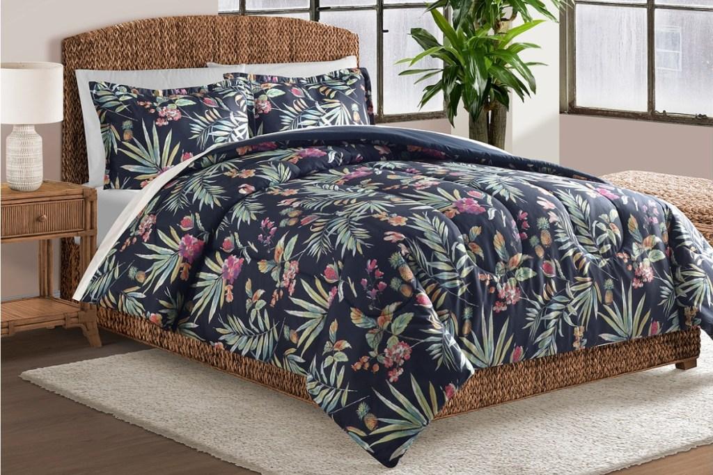 navy tropical bedding set
