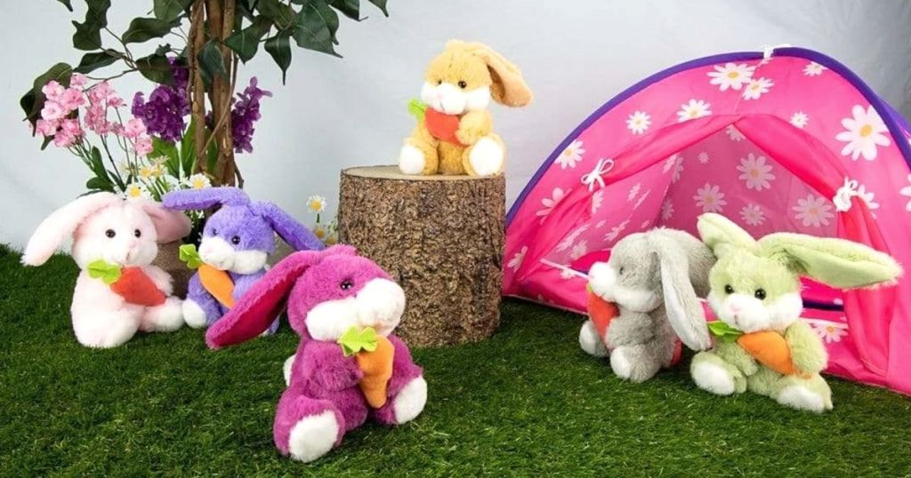 lots of plush Easter bunnies