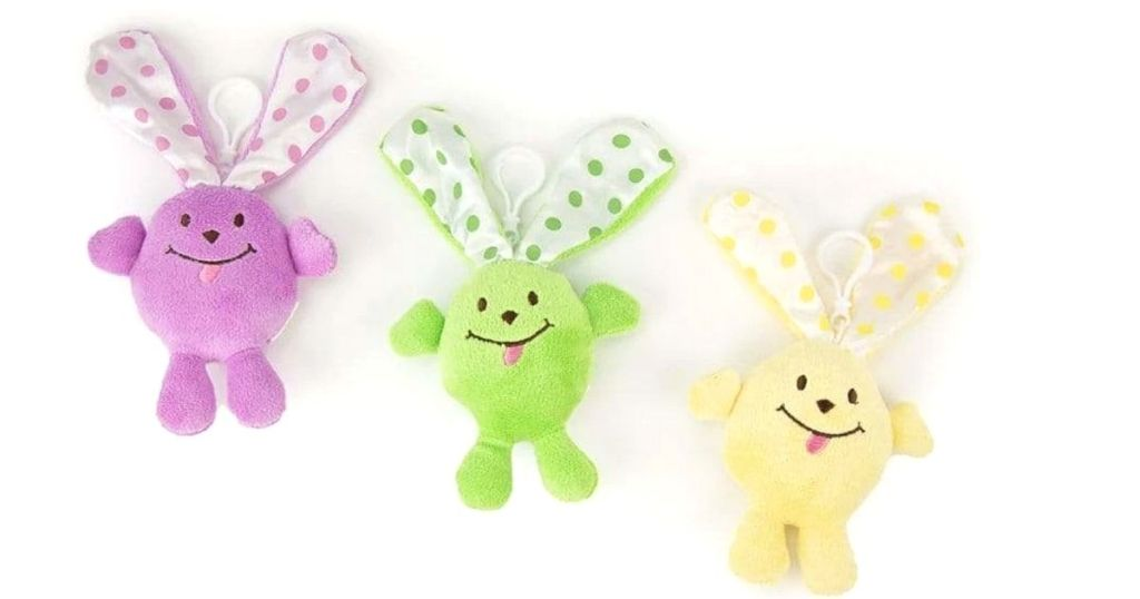 purple, green and yellow Easter bunny clips