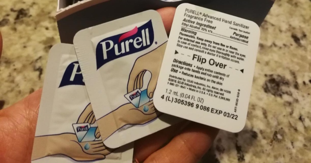 purell single packs in hand