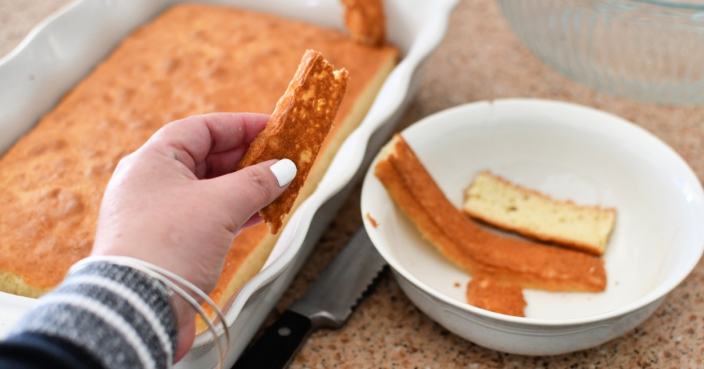 removing outsides from baked cake