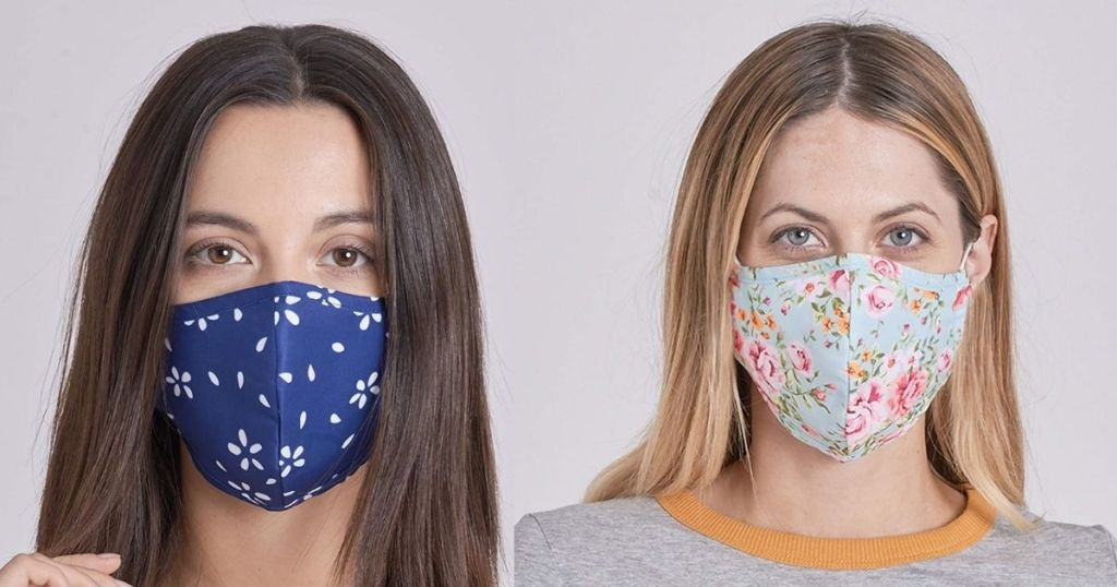 women wearing blue flowery masks and floral mask