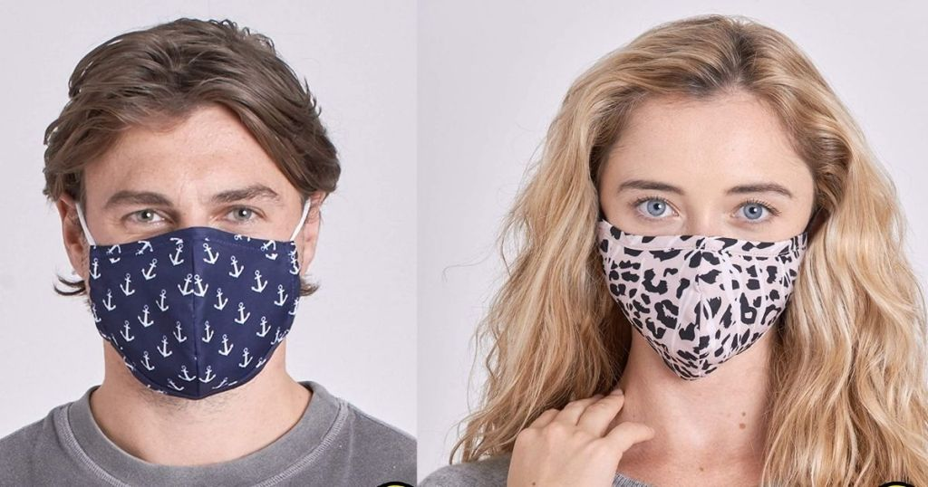 man wearing blue and white anchor mask and woman wearing animal print mask