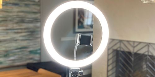 Selfie Ring Light w/ Extendable Tripod Stand, 2 Phone Holders & Bluetooth Remote Only $29.99 Shipped on Amazon