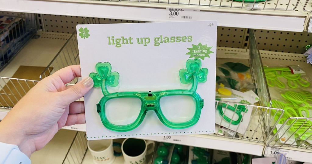 shamrock glasses in hand in store at target