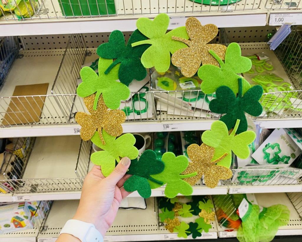 shamrock wreath in hand in store at target