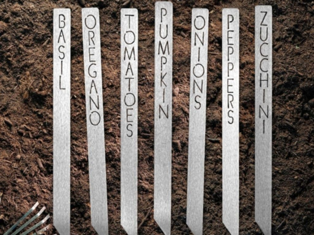 labeled metal garden stakes