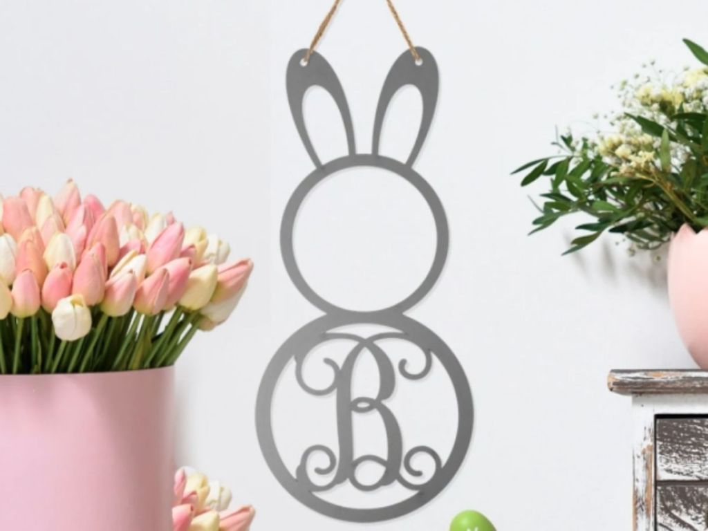metal monogram bunny