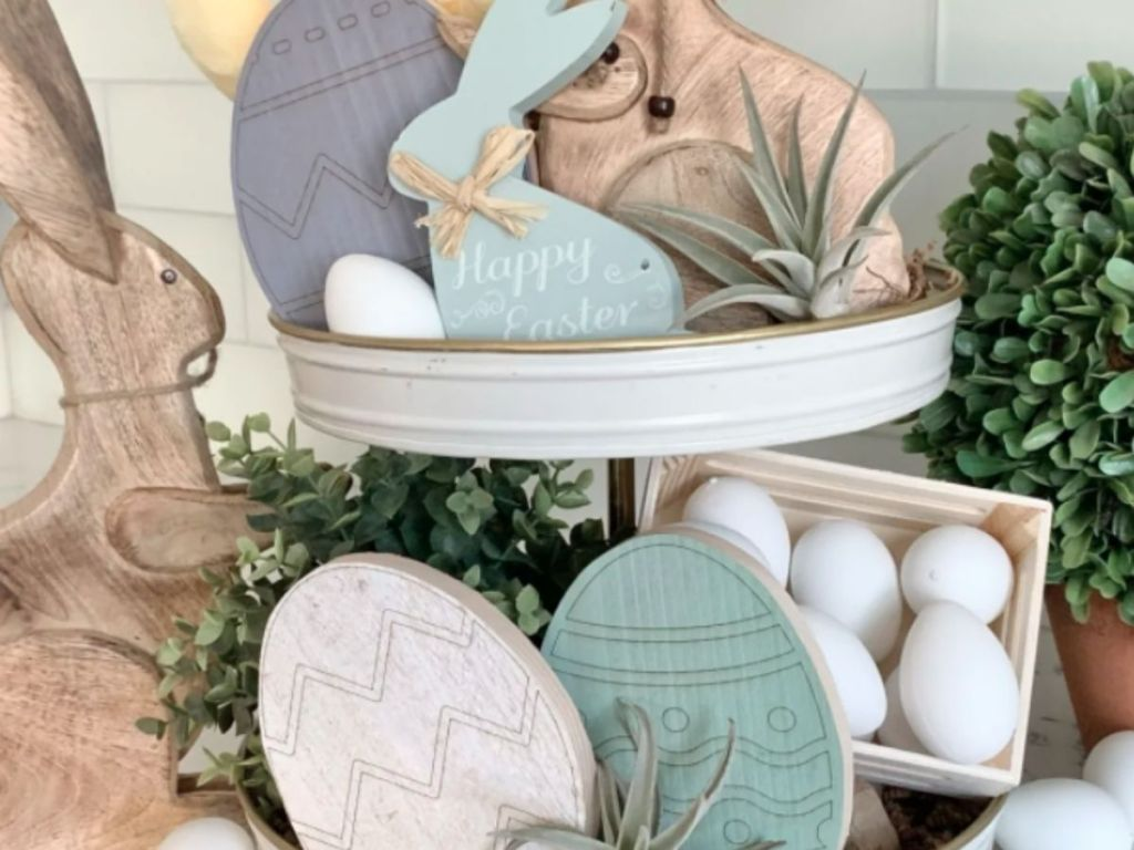 easter wood eggs and bunnies