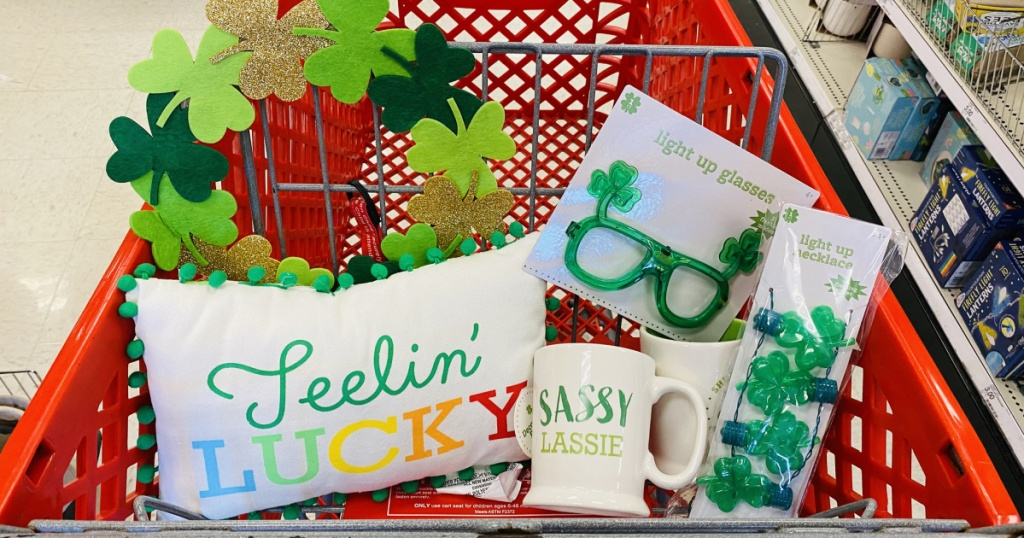 st paddys day goodies in target cart in store