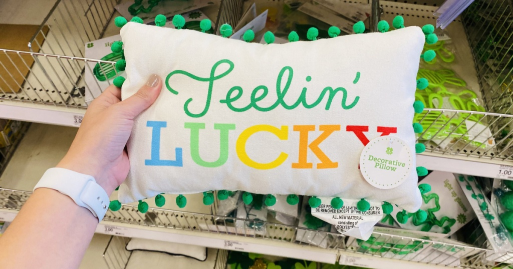 st paddys day pillow in hand in store at target
