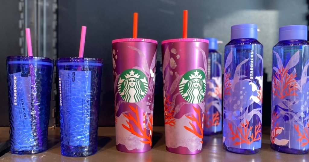 lineup of Starbucks reusable cups for summer