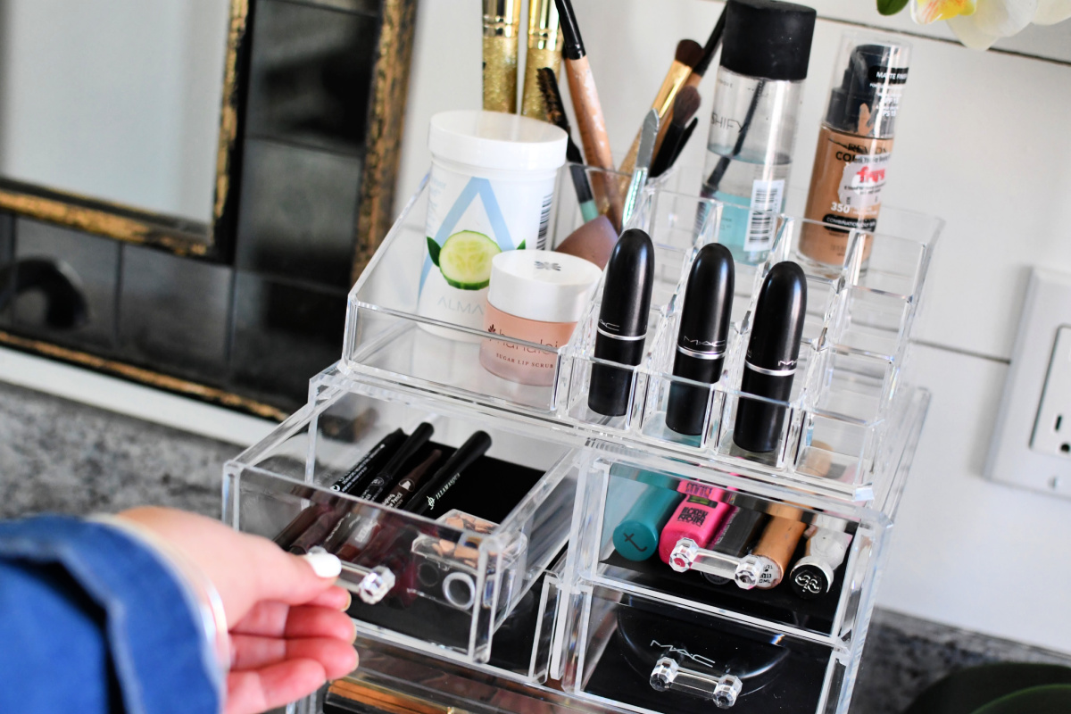 tall clear makeup organizer with drawers