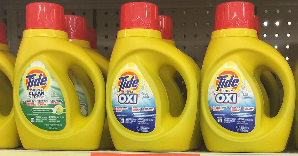 tide simply detergent on shelf