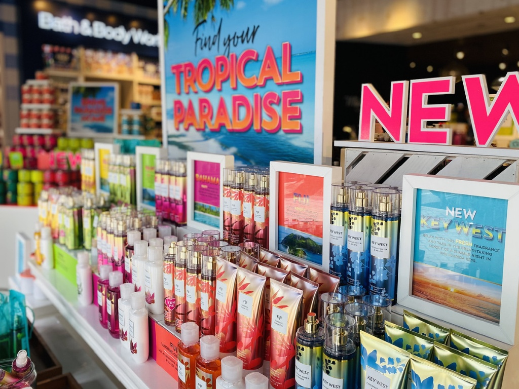 tropical paradise body care in bath and body works