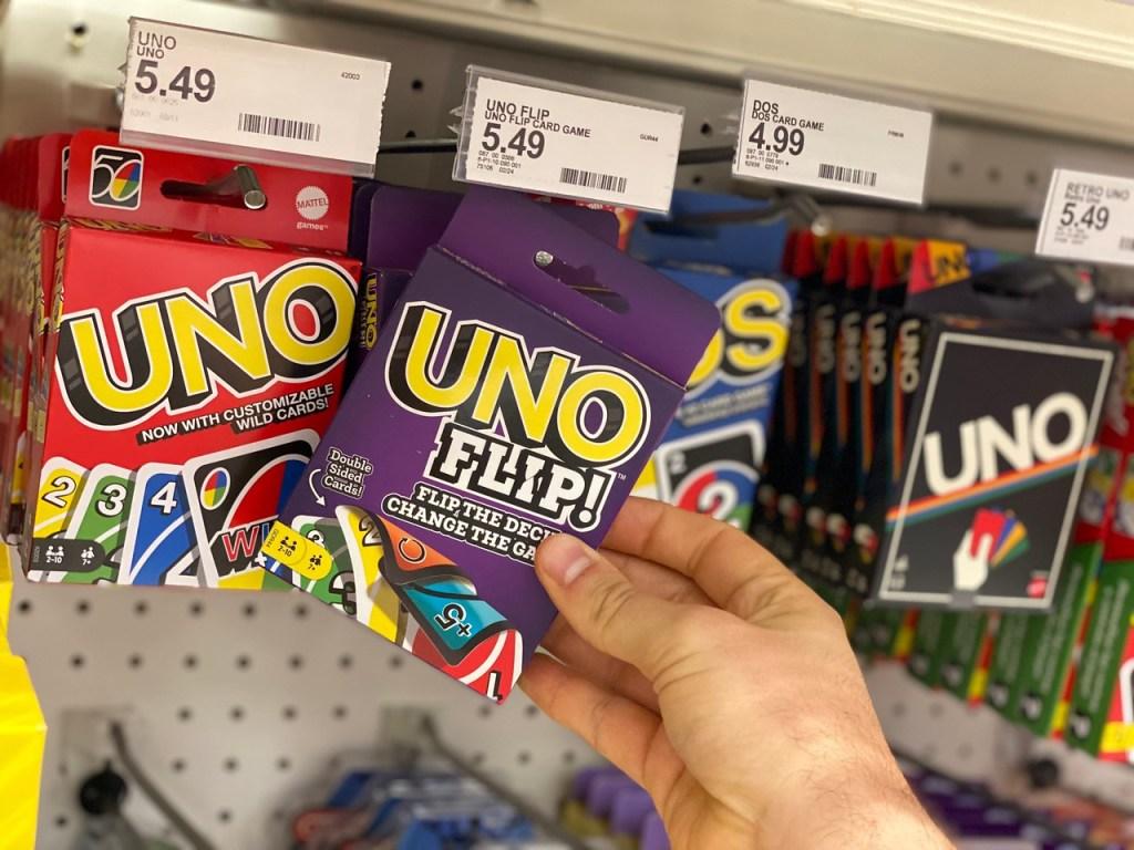 Uno Flip game on peg at Target