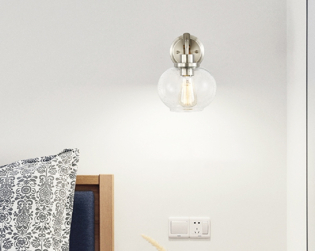 wall sconce above bed