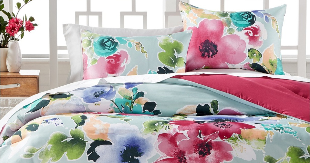 watercolor bedding on bed