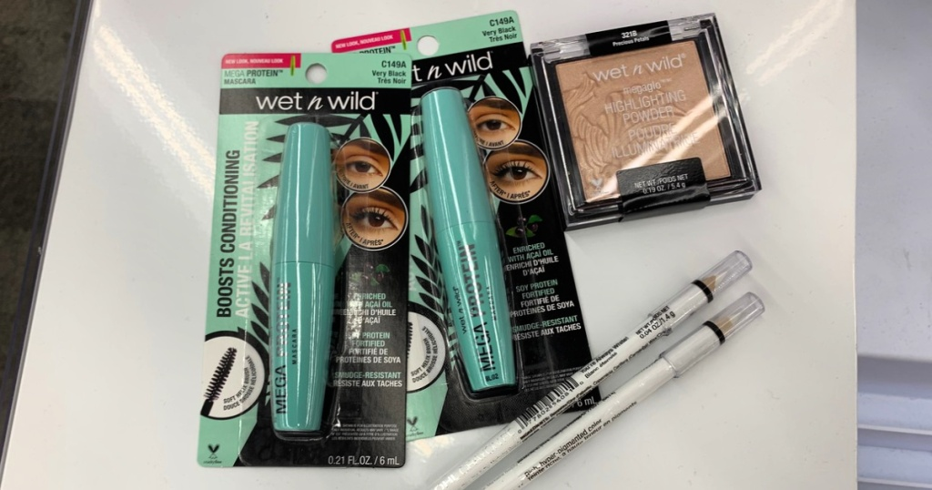 wet n wild beauty items on counter
