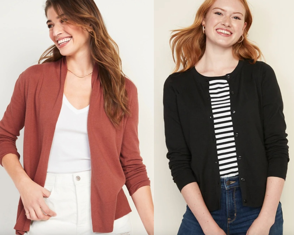 two womens cardigans