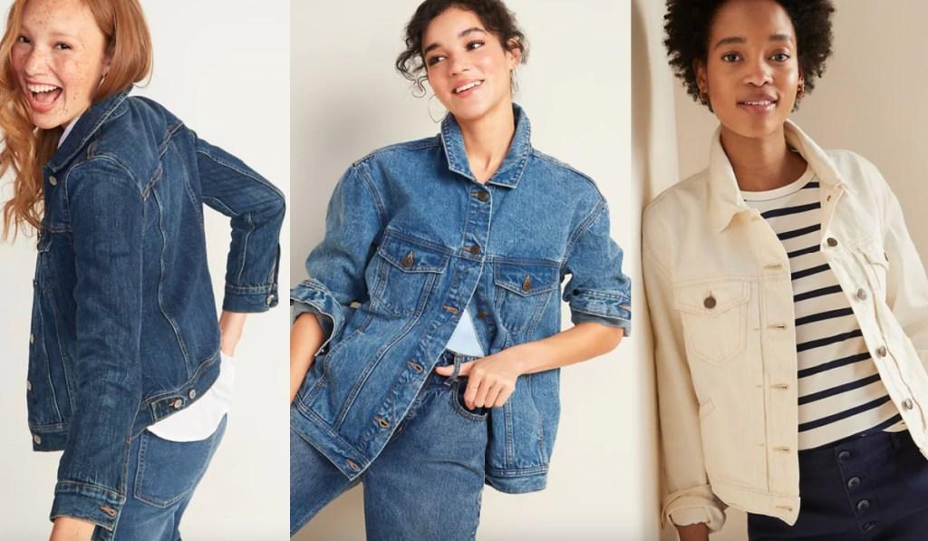 womens jean jackets on 3 women