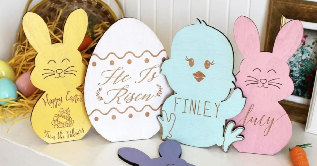 set of wooden easter shaped signs in Easter colors