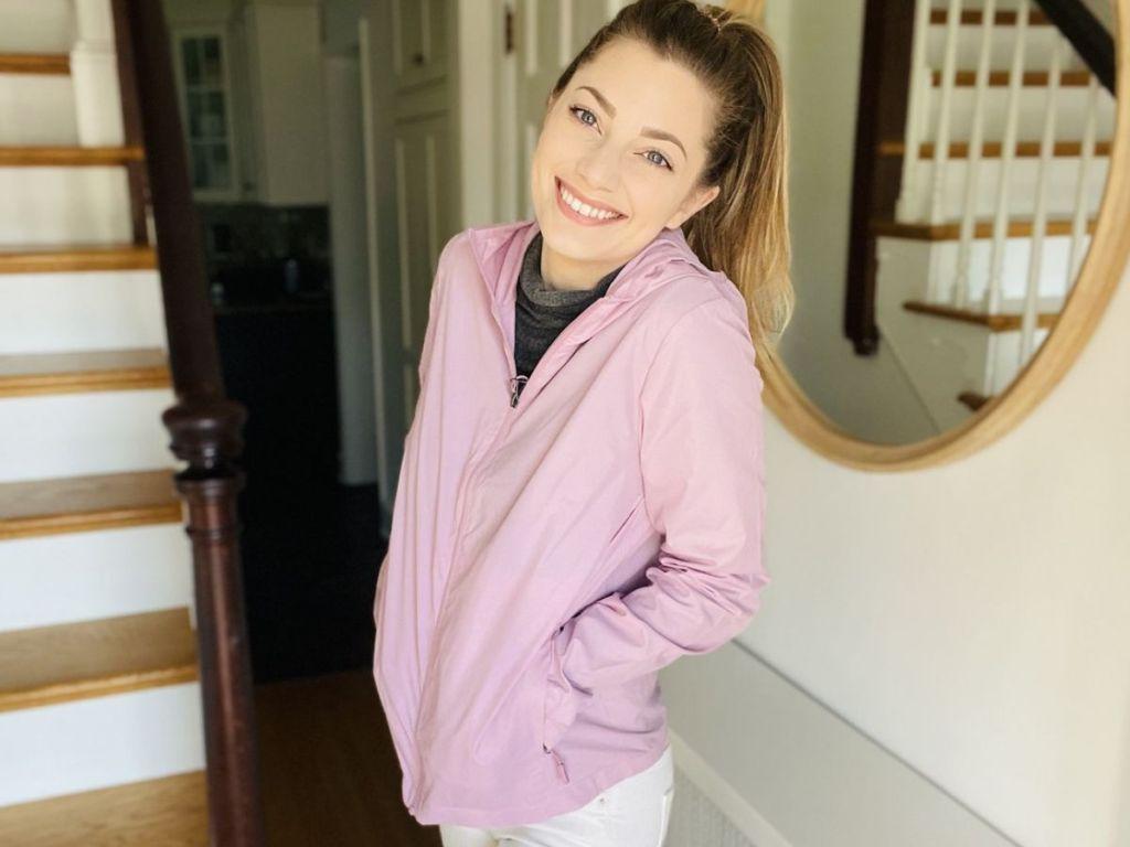 woman wearing a windbreaker jacket