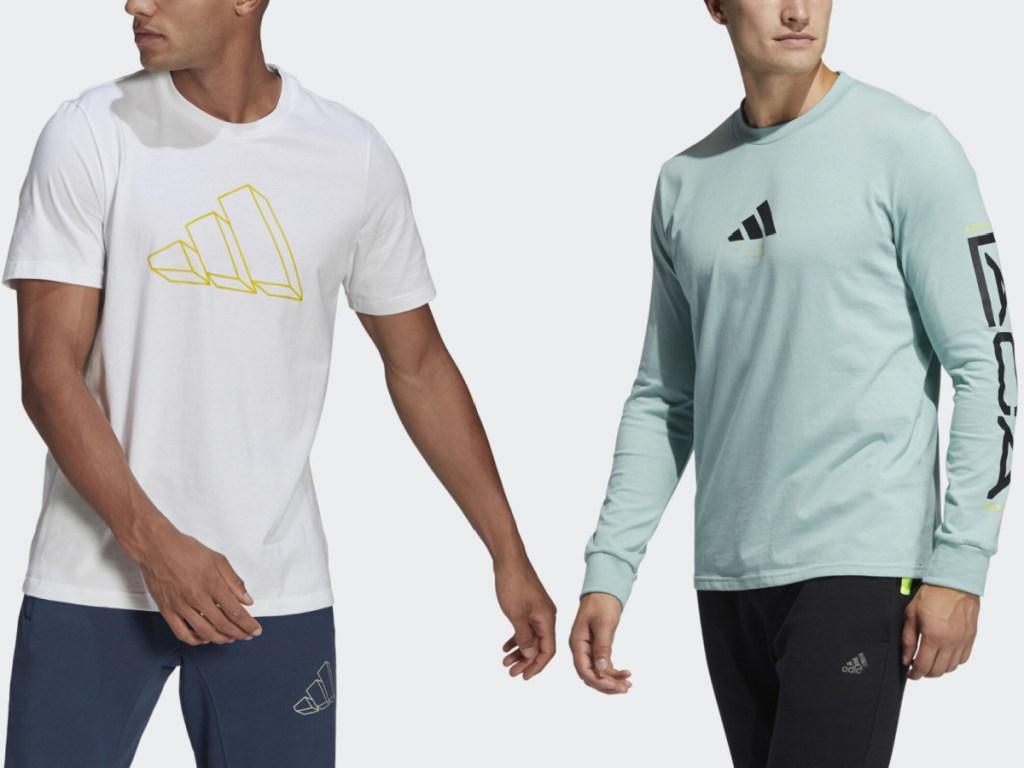 2 men wearing adidas apparel