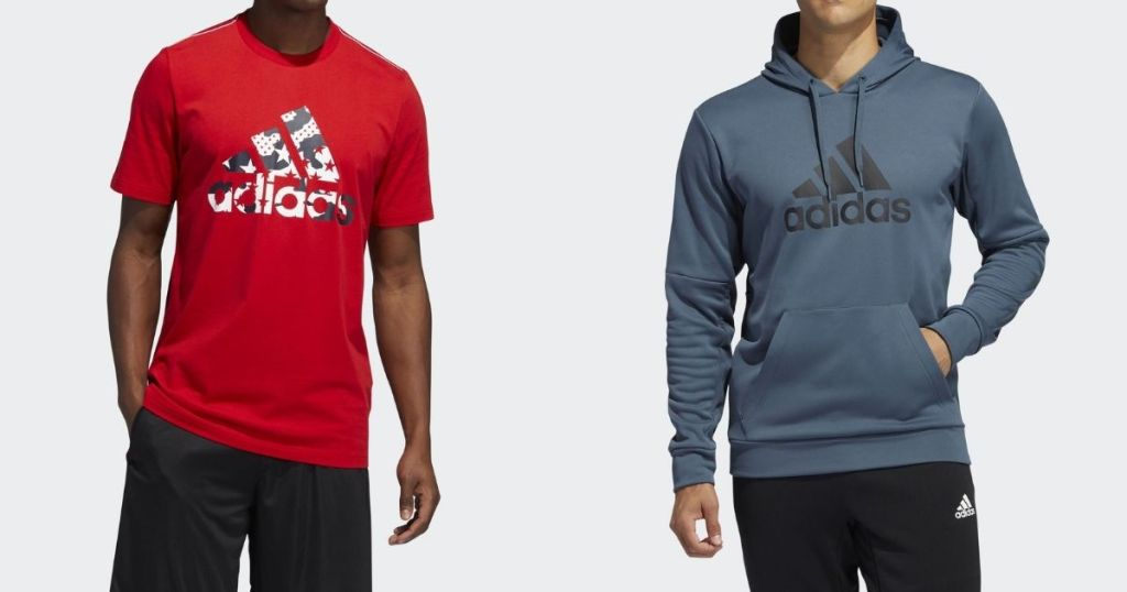 man wearing an adidas tee next to a man in an Adidas hoodie