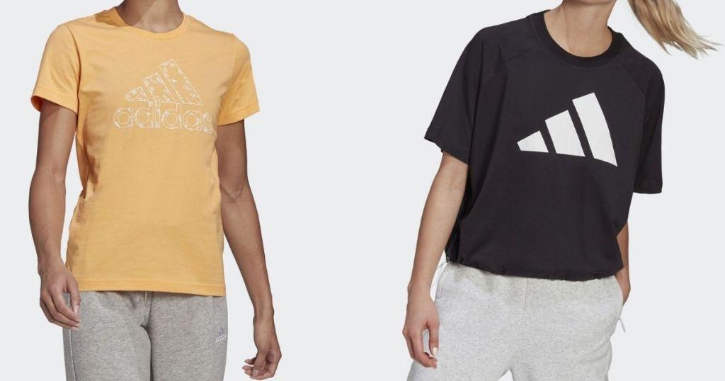 two women wearing adidas shirts