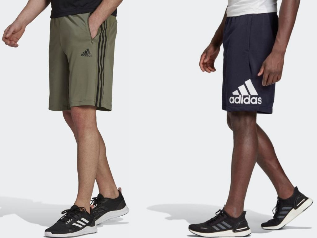 two pairs of Adidas men's shorts
