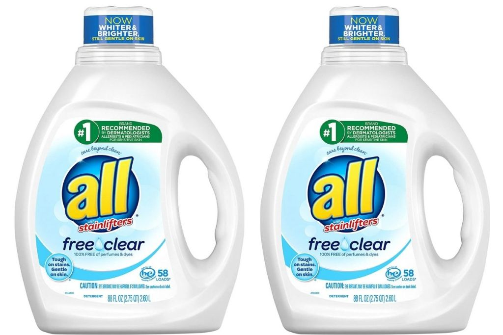 all free and clear laundry detergent bottles
