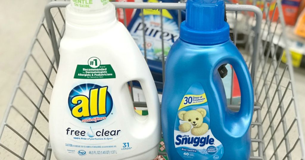 white and blue laundry care products in cart
