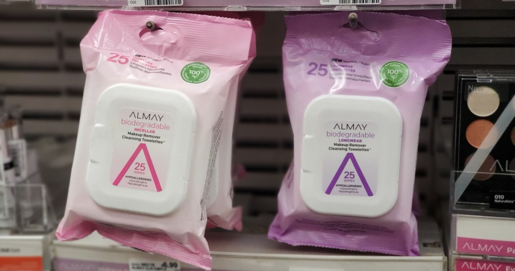 packs of almay makeup remover wipes on display in store