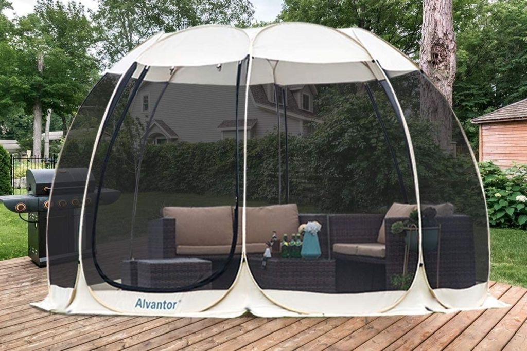 Alvantor Outdoor Pop-Up Canopy on deck by grill