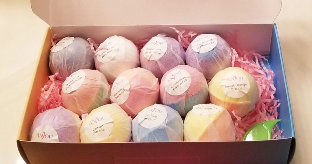 individually wrapped bath bombs in a gift box