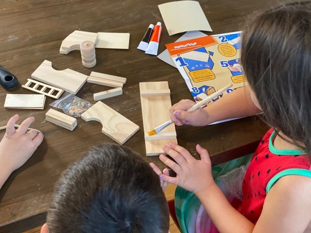 kids with Annie's Woodworking Kit