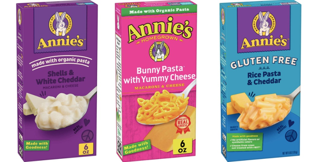 various boxes of Annie's macaroni & cheese