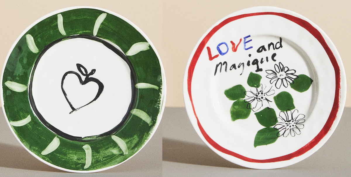 two styles of painted plates