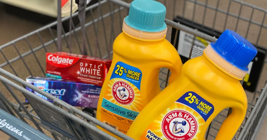toothpaste and laundry detergent in cart