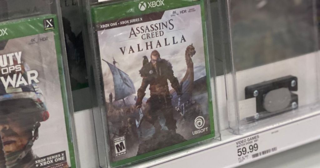 Assassin's Creed Valhalla game on a shelf at Target