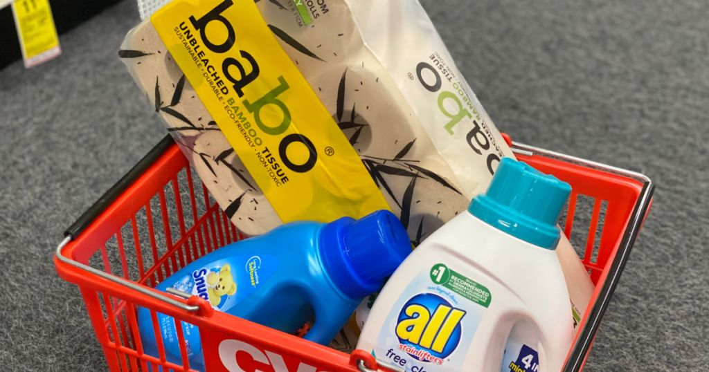 bath tissue and laundry detergent in basket