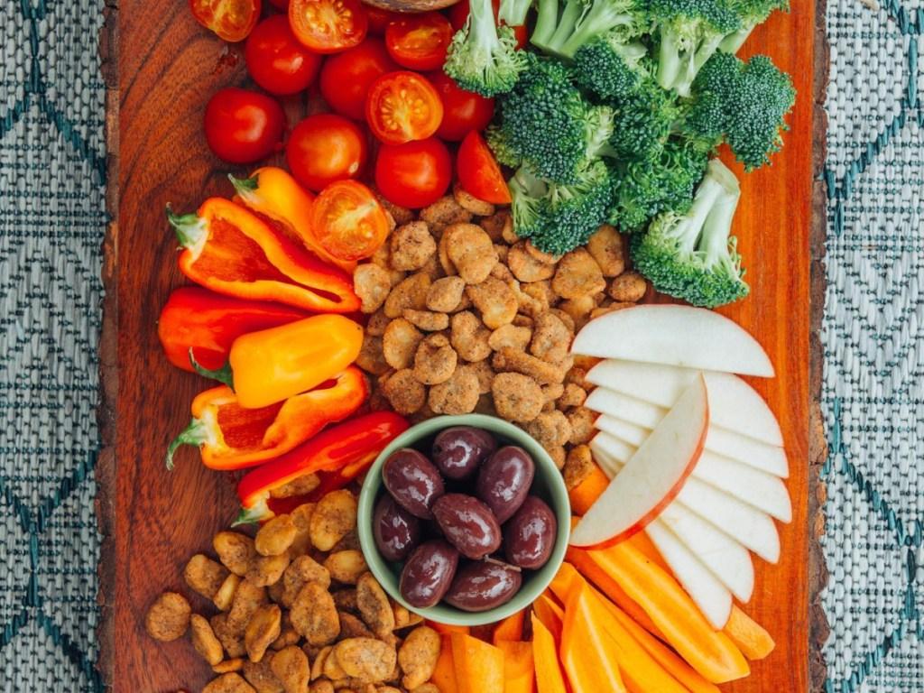 fruit and veggie snack board