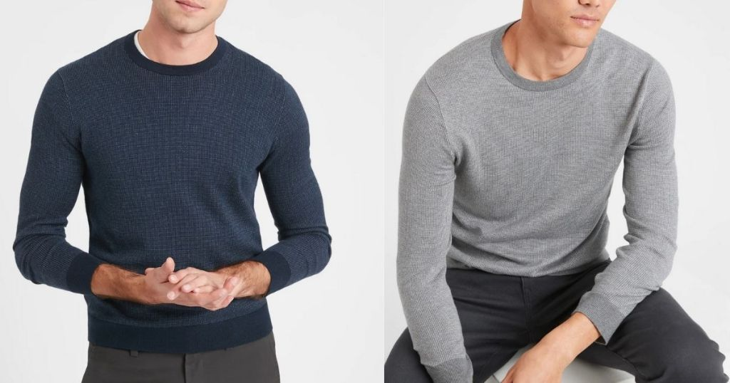 man wearing blue and gray long sleeve sweater