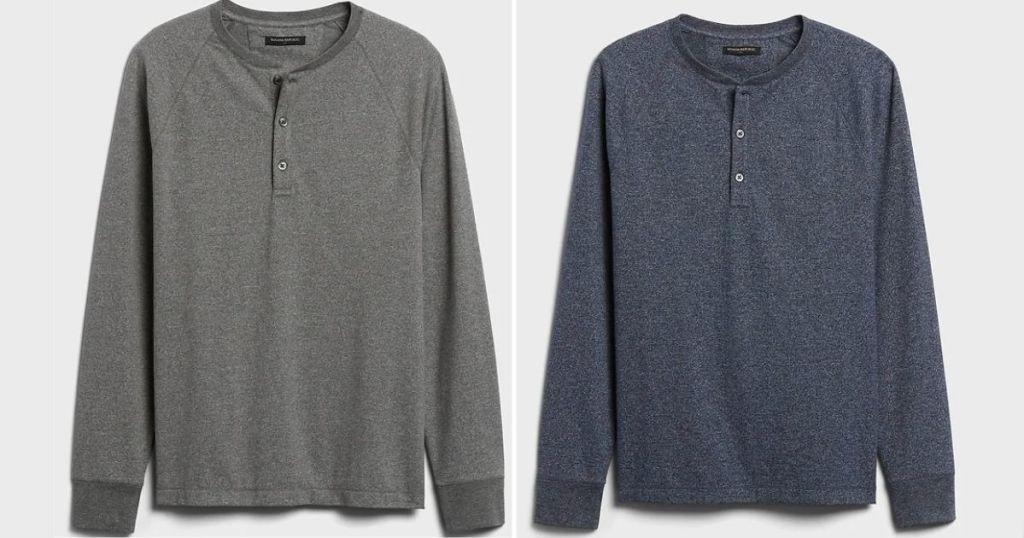 gray and navy long sleeve shirts